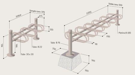 Dimensiones aparcabicletas MERCURE