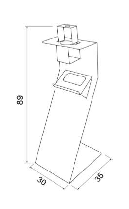 Soporte dispensador de gel / guantes - medidas