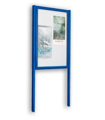 Vitrinas de Exterior CLASICA con postes lacada azul