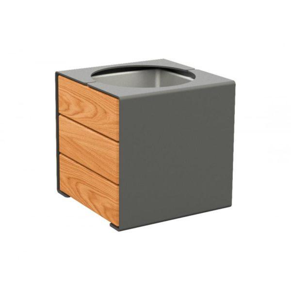 MACETERO Mod. KUB - Acero y madera